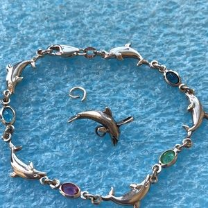 Jewelry - Sterling silver gemstone dolphin bracelet charm